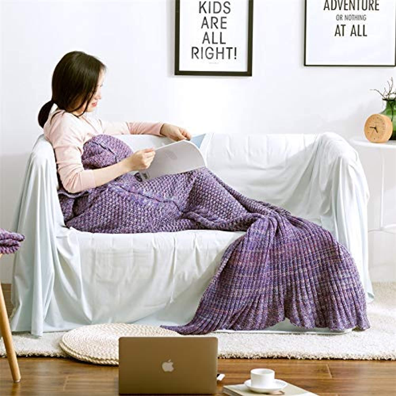 JINGB Home Wool-Blend Mermaid Tail Mermaid, bluee, 190  80CM (75  31.5 inch) (color   The Purple, Size   190  80CM)