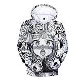 KIACIYA Unisex 3D Stampe Ahegao Felpa con Cappuccio per Uomo Donna Pullover Felpe con Cappuccio con Tasche Anime Maglione Pullover Ragazzi e Ragazze (M,Colore1)