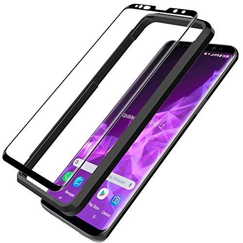 LϟK Schutzfolie für Samsung Galaxy S9-9H Härte 3D Abgerundete Vollständige Abdeckung Einfache Installation Hüllenfreundlich Gehärtetem Glas Displayschutzfolie - Schwarz