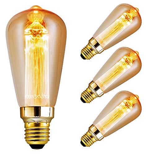 Edison Vintage Glühbirne, massway LED Retro Glühbirne E27 DST64 (3W/220V) LED Kristall Filament Warmweiß Antike Glühlampe, Ideal für Dekorative Beleuchtung im Haus Café Bar - 3 Stück