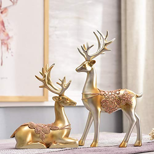 RedAlphabet Living room home decoration wine cabinet decoration deer jewelry decoration small European office porch room creative American (Color : Champagne gold)