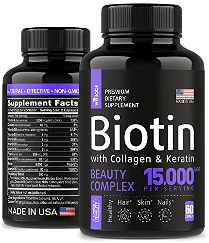 Biotin, Keratin & Collagen Pills – Fish Collagen & Biotin Vitamins for Hair, Skin, and Nails - Made in The USA - Collagen Peptides, Keratin & Biotin Supplement for Nail & Hair Growth