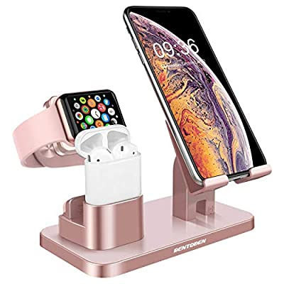 BENTOBEN 3-in-1 Charging Stand, Universal Charging Dock Station for Airpods 2/1 Apple Watch Series 6/5/4/3/2/1 iPhone 12 11 Pro SE 2020 XS Max XR X 8 7 6 Plus Android Smartphone iPad Tablet, Rose Gold by BENTOBEN