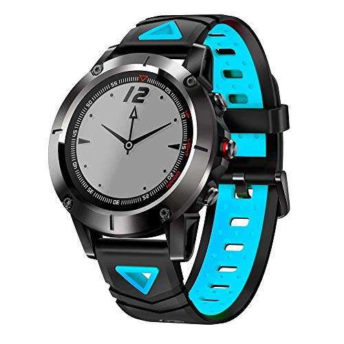 XHZNDZ Robuste Outdoor-Sport-Smart-Uhr mit Bluetooth-Aktivitäts-Tracker-Pedometer-Schritten 50M wasserdicht für Laufen, Wandern, Lange Standby-Zeit Vergleichen Sie mit iOS & Android (Farbe : Blau)