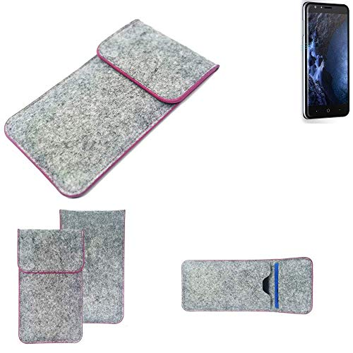 K-S-Trade Handy Schutz Hülle Für Doogee Y6 4G Schutzhülle Handyhülle Filztasche Pouch Tasche Hülle Sleeve Filzhülle Hellgrau Pinker Rand