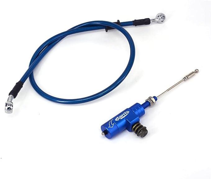 Blau Universal Cnc Hydraulische Kupplung Nehmerzylinder Zugstange Mit 1200mm Bremskühler Ölschlauch Leitungsrohr Für Yamaha Yz125 Yz250 Yz250f Yz450f Wr250f Wr450f Schmutz Pit Bike Auto