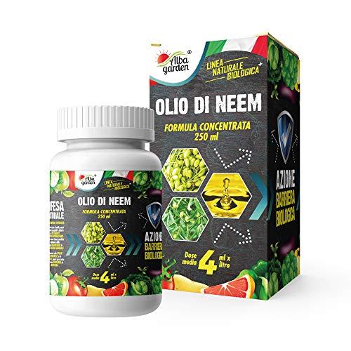 Albagarden - Olio di Neem il più concentrato da 250 ML - Insetticida Fungicida Acaricida Naturale Afidi Cimici Pidocchi Ragnetto Cocciniglia Funghi Zanzare per x 250 ml