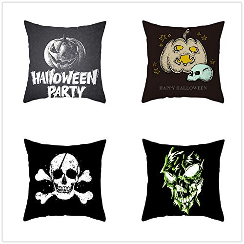 N / A Square Cushion Covers Linen Cotton with Invisible Zipper for Decorative Sofa and Couch Throw Pillow Case Halloween 4 Pack 50x50cm(20x20inch) Y536