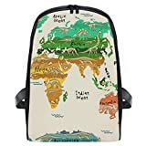 ISAOA - Mochila escolar para niños, diseño de mapa del mundo con dinosaurios,...