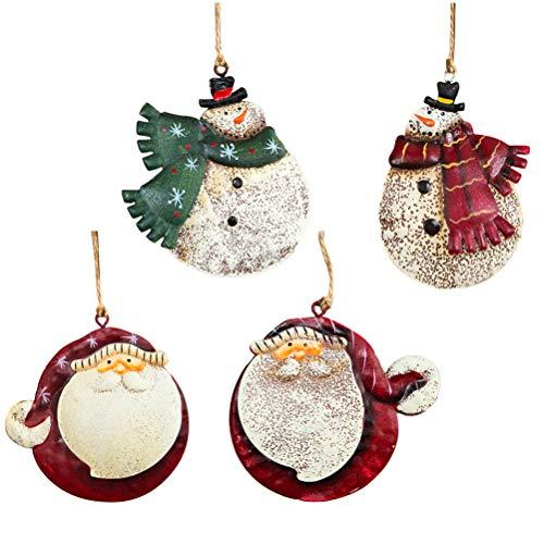 BESTOYARD Weihnachtsbaum Anhänger Vintage Eisen Mollige Schneemann Weihnachtsmann Figuren Weihnachten Hängede Deko 4 Stück