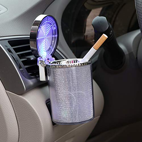 Xingrass Auto Car Ashtray Portable with LED Light Lighter Ashtray Smokeless Smoking Stand Cylinder Cup Holder (Silver)