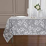 Home Basics Baker Collection Tablecloth   Elegant Raised Leaf Jacquard Design   Made of 100% Polyester (Gray, 60x84)