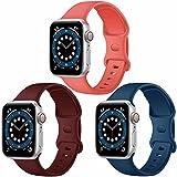 Paquete de 3 correas para Apple Watch compatibles con Apple Watch 38 mm, 42 mm, 40 mm, 44 mm, correa de silicona suave para relojes deportivos, compatible con iWatch SE Series 6 5 4 3 2 1 (D, 42/44)