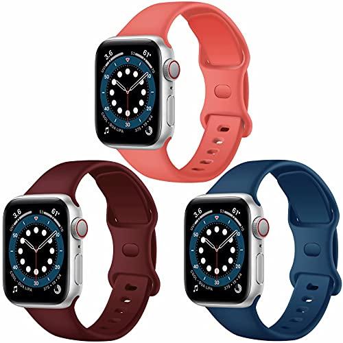 Paquete de 3 correas para Apple Watch compatibles con Apple Watch 38 mm, 42 mm, 40 mm, 44 mm, correa de silicona suave para relojes deportivos, compatible con iWatch SE Series 6 5 4 3 2 1 (D,