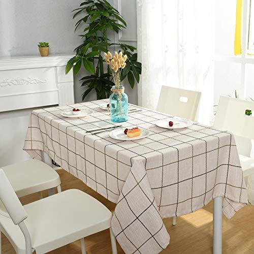 lxtmgzgf BaumwollleinenTischdeckeEinfache Baumwollleinen TischQuadrat Gitter SitzkissenTv Schrank Großhandel,Beige, 140 * 180 cm