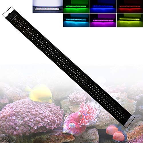Illuminazione per Acquario con Timer e Supporto Estensibile 120cm 60W 6000-10000K Dimmerabile Lampada LED per 120-150cm Acquario, Impermeabile IP68 Luce dell'Acquario per Pesce Piante Acquatiche
