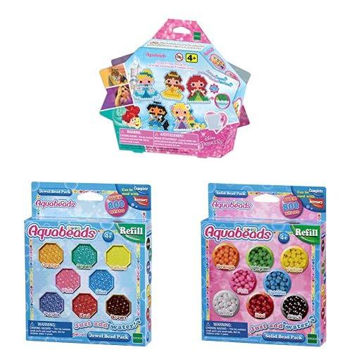 Aquabeads - 31606 - Le kit des merveilleuses Princesses Disney avec La recharge perles à facettes,perles classiques et perles étoiles
