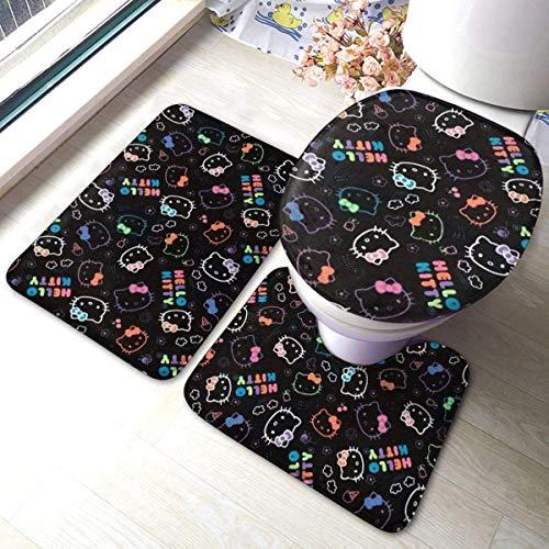Badematten-Set, 3-teilig, Flanellteppich, rutschfeste Unterseite, Badematten für Badezimmer, Schlafzimmer, Küche, schwarz Hello Kitty (61 x 40,6 cm)