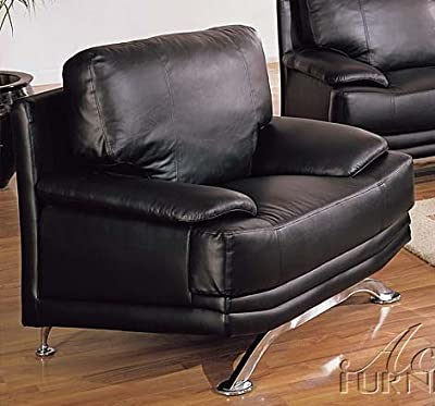 Sofa Chair with Metal Legs Black Regenerated Leather
