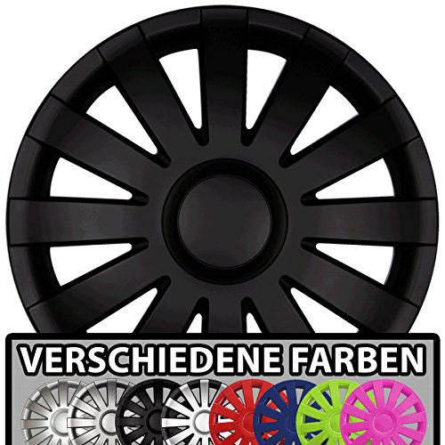 Eight Tec Handelsagentur (Farbe & Größe wählbar!) 16 Zoll Radkappen AGA (Schwarz matt) passend für Fast alle Fahrzeugtypen (universal)