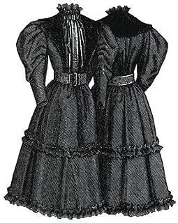 1894 Tan & Green Dress for Girl 12-14 yrs Pattern