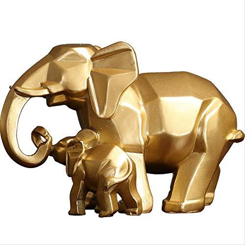 LHQ-HQ Figurita Estatua Ornamento Decoración del Hogar Estilo Europeo Madre Y Niño Elefante Escultura Decoración de la Sala de Regalo