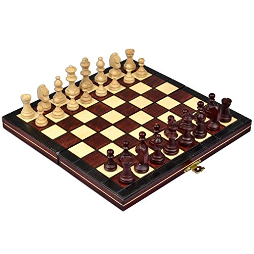 Wegiel Handmade Royal 36 European International Chess Set - Wooden 14.2 Inch Board With Felt Base - Carved Hornbeam & Sycamore Chess Pieces - Compartment Inside The Board To Store Each Piece