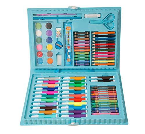 Juego de 86 pinceles de pintura para niños, kit de arte de dibujo, herramientas de pintura de arte lavables, lápices de acuarela y juego de papelería (azul)