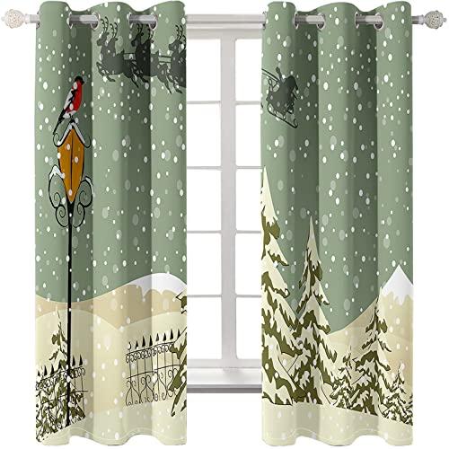 Patrón De Dibujos Animados Serie De Árboles De Navidad Cortinas Sombreado Engrosado Varilla De Orificio Redondo Cortina Universal Casa Patrón De Muñeco De Nieve Adecuado Para Cortinas De Dormitorio