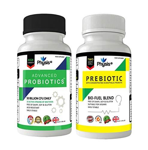 Physis Advanced Probiotics and Prebiotic Bio-Fuel - Ultimate Post-Antibiotic or Disruptive Gut Flora Combo Pack