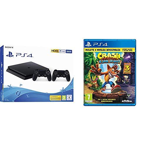 Playstation 4 (PS4) - Consola 500 Gb + 2 Mandos Dual Shock 4 (Edición Exclusiva Amazon) - nuevo chasis F + Crash Bandicoot N.Sane Trilogy