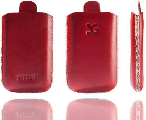 Original Suncase Tasche für / Emporia CLICK V32 / Leder Etui Handytasche Ledertasche Schutzhülle Hülle Hülle - Lasche mit Rückzugfunktion* In Rot
