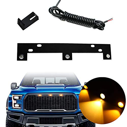 KE-KE Amber LED Grille Lights Kit w/Mounting Bracket Raptor Style For 2009-up Ford F150