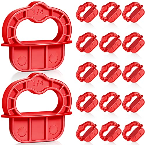 Deck Jig Spacer Rings 1/4 Inch Composite Decking Boards Decking Boards Deck Spacers Plastic Decking Deck Tools Deck Board Spacers for Hardwood Deck Spacer Decking Tool, Red, 18 Pieces
