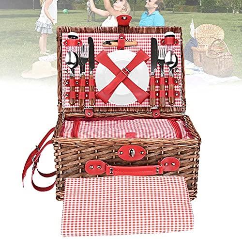 FCPLLTR Personas Cesta de Picnic, 4 Personas Picnic Tradicional Mimbre Hermper, Incluye Cubiertos Botella de Abrigos Bolsa de refrigerador Bolsa Manta de Picnic (diseño Rectangular)