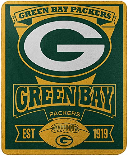 """Officially Licensed NFL Green Bay Packers """"Marque"""" Printed Fleece Throw Blanket, 50"""" x 60"""", Multi Color"""