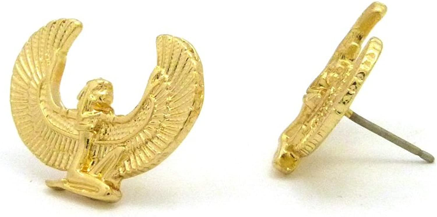 Egyptian Ancient Ma'at Piece Pierced Stud Earring in Gold Tone (Earring)
