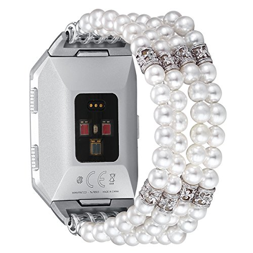 Compatible for Fitbit Ionic Bands -Fastgo Replacement Straps Bracelet Compatible bfor Ionic Smart Fitness Watch(Handemade Artificial Pearl Elastic Stretch Beaded Accessories for Women/Girls)(White)
