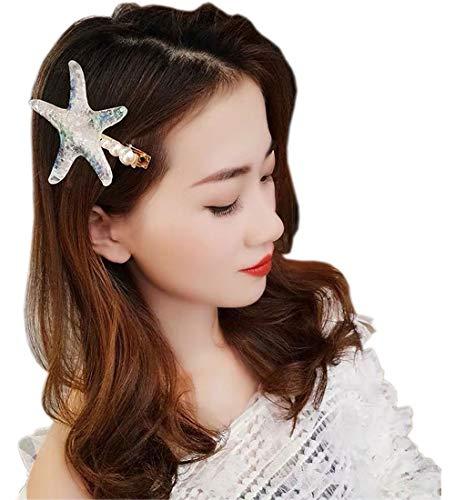 Sweet Valentine Gift Starfish Barrette Fancy Pearl Starfish Hair Clip for Women or Girls Beach Wedding Prom Halloween Mermaid Costume