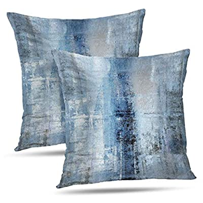 Alricc Blue and Grey Abstract Art Artwork Pillow Cover, Gallery Modern Decorative Throw Pillows Cushion Cover for Bedroom Sofa Living Room 20 x 20 Inch Set of 2