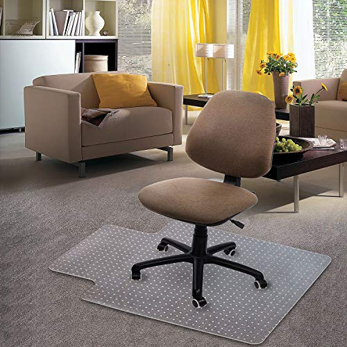 Kuyal Carpet Chair Mat, 48' x 30' PVC Home Office Desk Chair Mat for Floor Protection, Clear, Studded, BPA Free Matte Anti-Slip with Lip