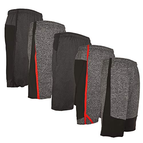5 Pack: Men's Active Performance Quick-Dry Athletic Workout Training Stretch Basketball Gym Knit Shorts