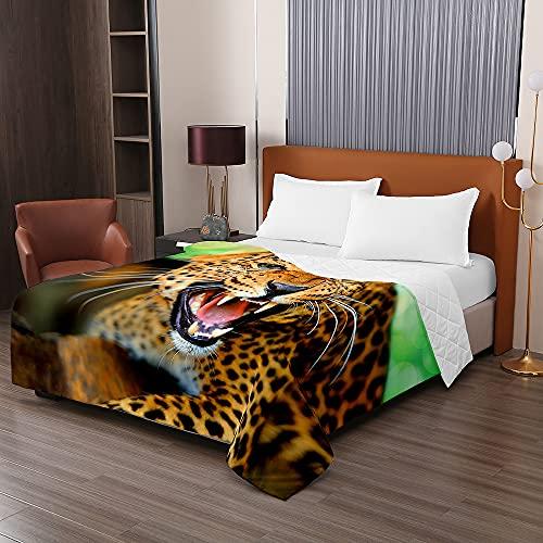 Oduo Colcha Bouti Cama de Verano, 3D Leopardo impresión Microfibra Cubrecama Multiusos Suave para Cama de Matrimonio, Lavable Acolchada Edredón Ligero Manta (Intenso,230x260cm)
