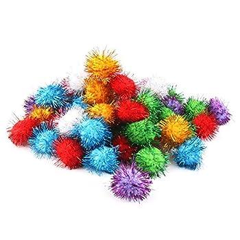 BIPY Lot de 20 balles souples pour chat 3,5 cm avec peluches et pompon d'intérieur Couleurs assorties