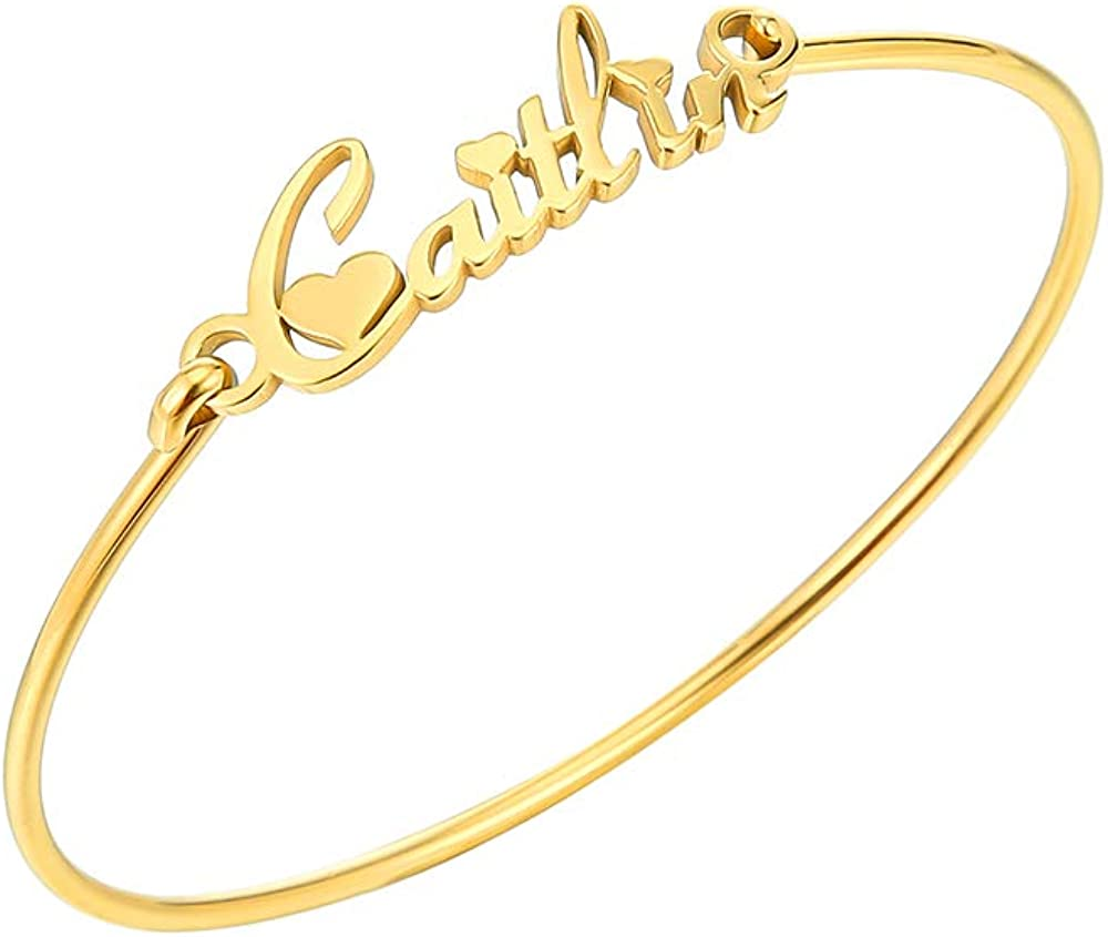 TUSHUO 26 English Letters Name Automatic Retractable Simple Bangle Gold-Plated-Base Caitlin