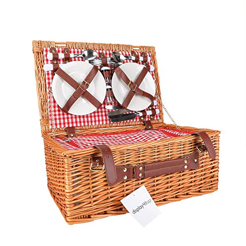 Display4top Deluxe 4 Personen Traditional Wicker Picknickkorb Wicker Hamper - Premium Set mit Tellern, Weingläsern, Besteck und Servietten (Rosa)