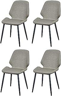 LHHL Set de 4 Sillas de Cocina de Cuero Modernas, Ergonómicamente Diseñadas, Confortables Silla Oficina Sala de Reuniones Silla (Color : Gray)