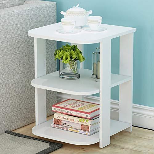 BONJIU Home Small Side Table Office Desk, 3-Tier Storage Locker Bedroom Night Table Sofa Coffee Table Modern End Table