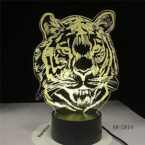 Neue Tigerhauptkarikaturnachtlichtfarbtabellenlampenkinderspaß Weihnachtsgeschenkausgangsdekoration