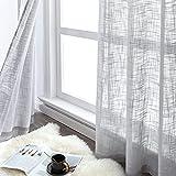 CUTEWIND Juego de 2 cortinas cortas de lino con aspecto de lino con ojales, cortinas modernas de color gris, 140 x 137 cm (ancho x alto) para salón, dormitorio, habitación infantil